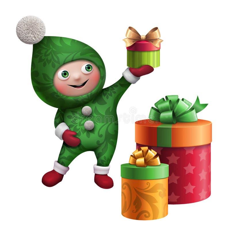 carácter del juguete del duende de la Navidad 3d con la caja de regalo stock de ilustración