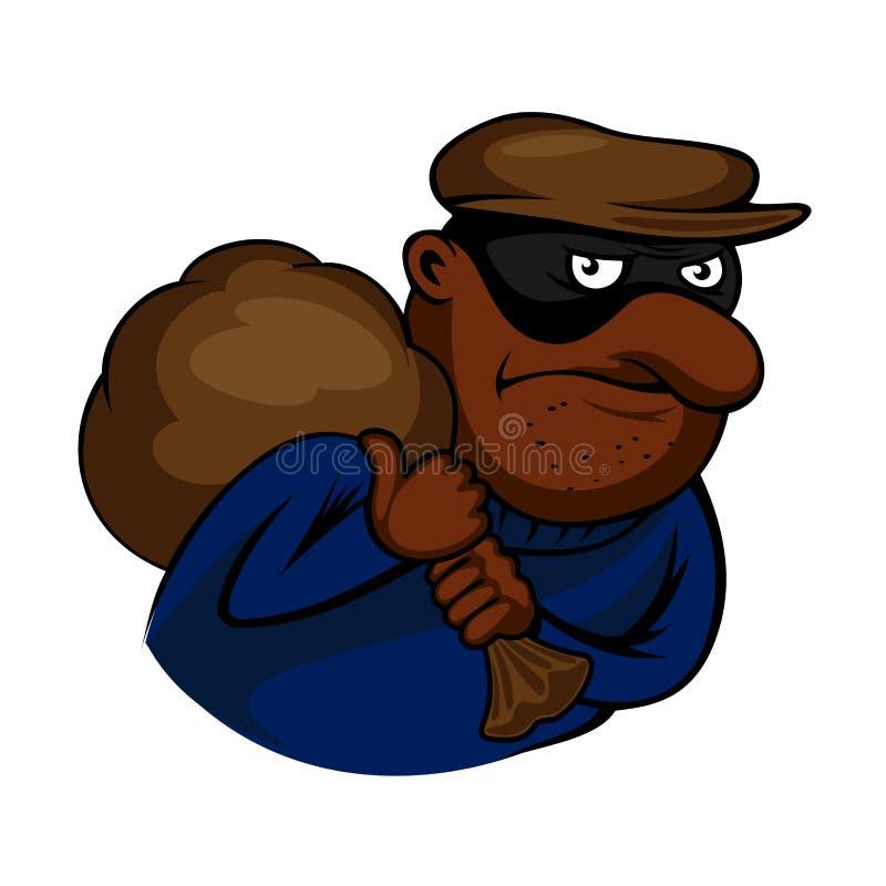 Carácter del ladrón o del ladrón de la historieta con el bolso ilustración del vector