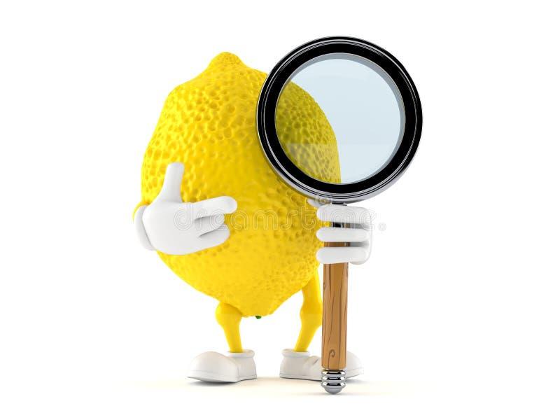 Carácter del limón con la lupa libre illustration