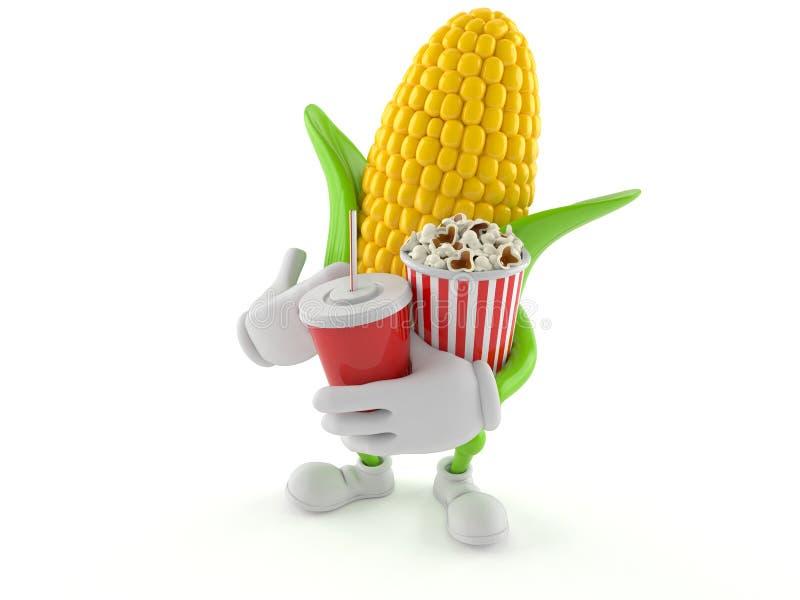 Carácter del maíz que sostiene las palomitas y soda libre illustration