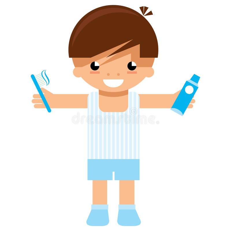 Carácter del muchacho de la historieta que sostiene el cepillo de dientes y la crema dental para lavarse stock de ilustración