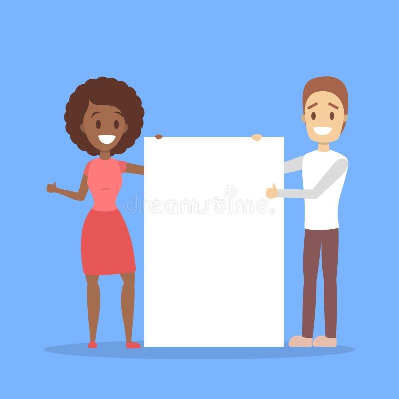 Carácter del negocio que se coloca detrás de la hoja del papel en blanco libre illustration