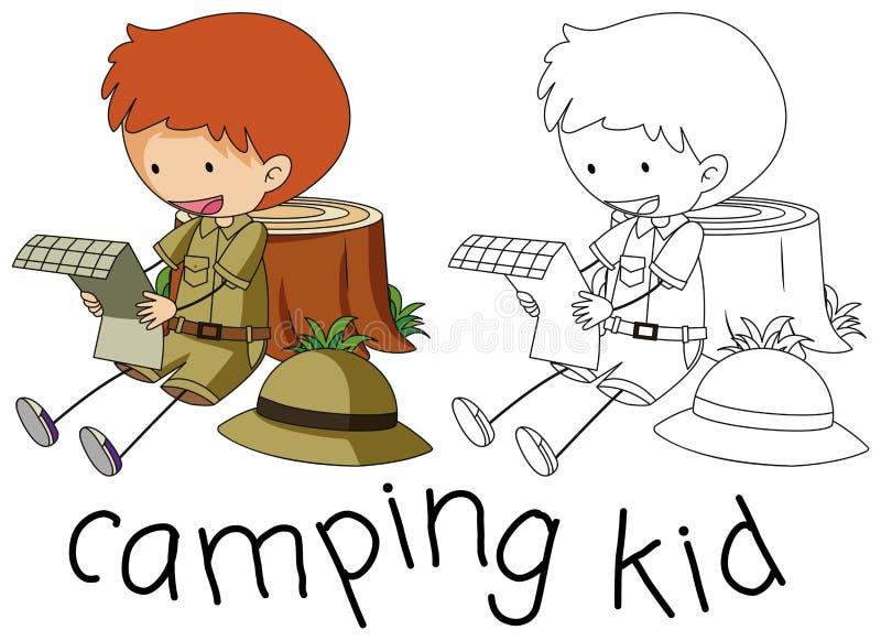 Carácter del niño del garabato que acampa stock de ilustración
