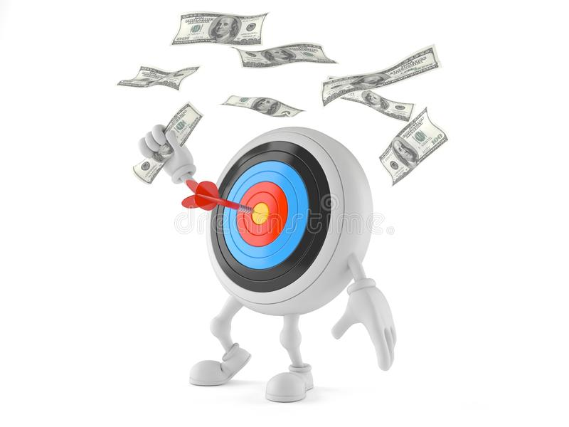 Carácter del ojo del ` s de Bull con el dinero ilustración del vector
