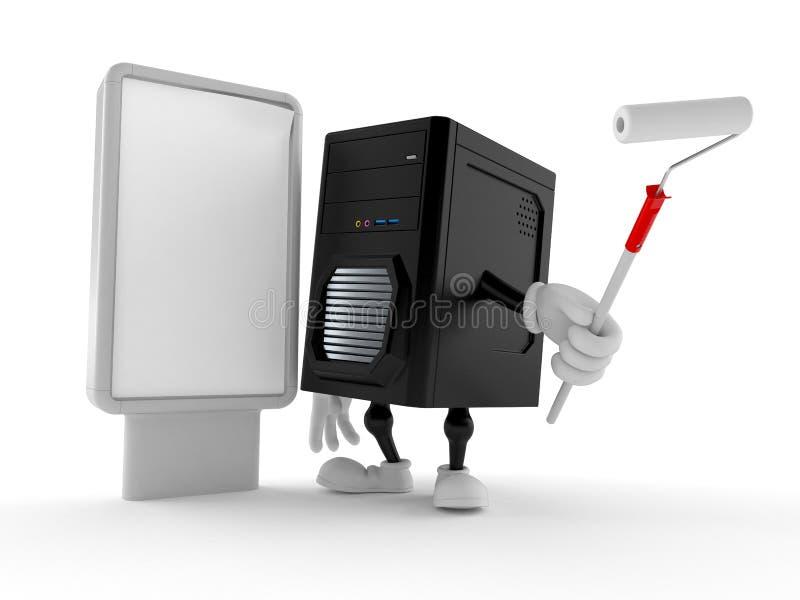 Carácter del ordenador con la cartelera en blanco stock de ilustración