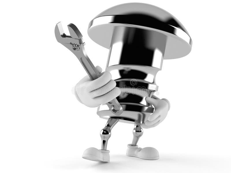 Carácter del perno que sostiene la llave ajustable stock de ilustración