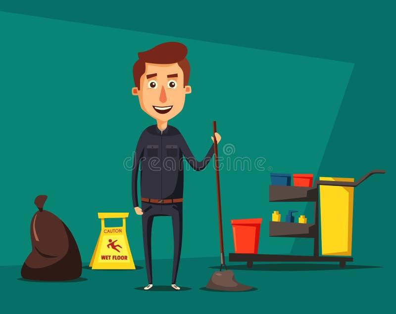 Carácter del personal de limpieza con el equipo Ilustración del vector de la historieta libre illustration