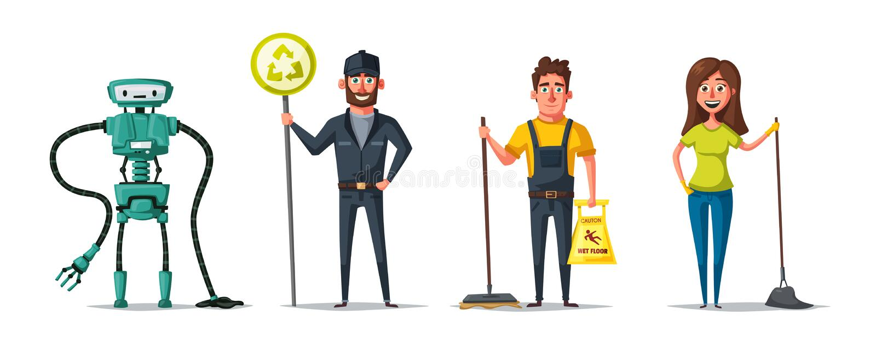 Carácter del personal de limpieza con el equipo Ilustración del vector de la historieta stock de ilustración