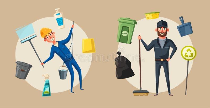 Carácter del personal de limpieza con el equipo Ilustración del vector de la historieta ilustración del vector