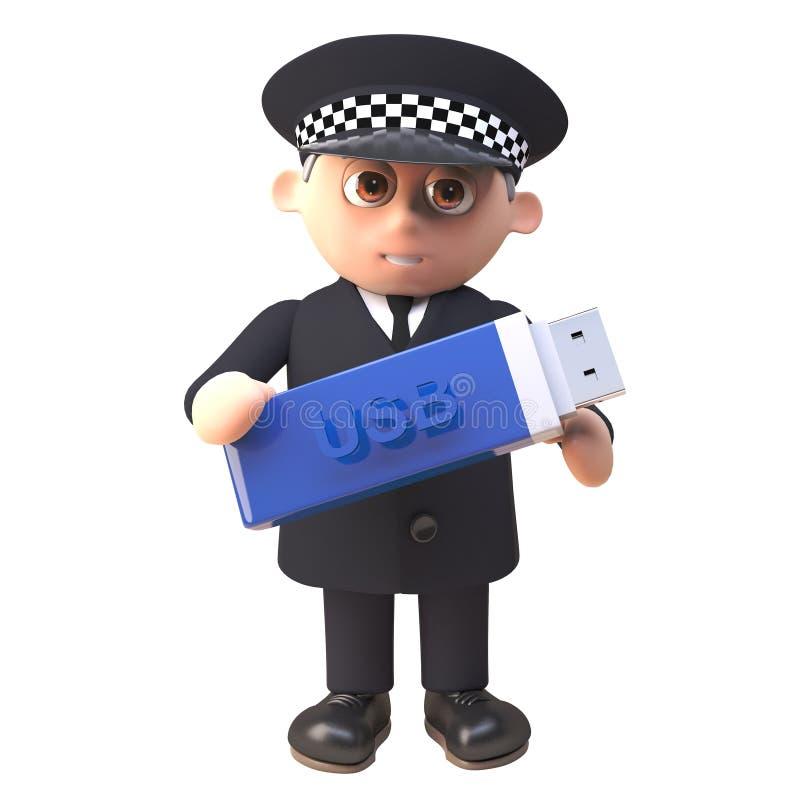 carácter del policía del oficial de policía 3d en el uniforme que sostiene un Memory Stick de la impulsión de memoria USB para la ilustración del vector