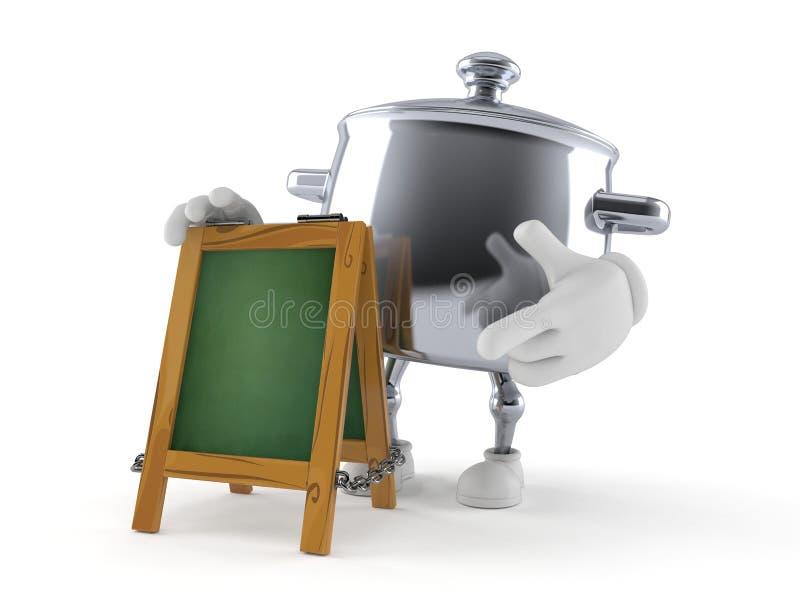 Car?cter del pote de la cocina con el letrero de la tiza libre illustration