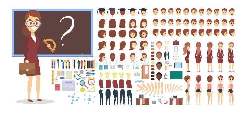 Carácter del profesor en el sistema uniforme para la animación stock de ilustración