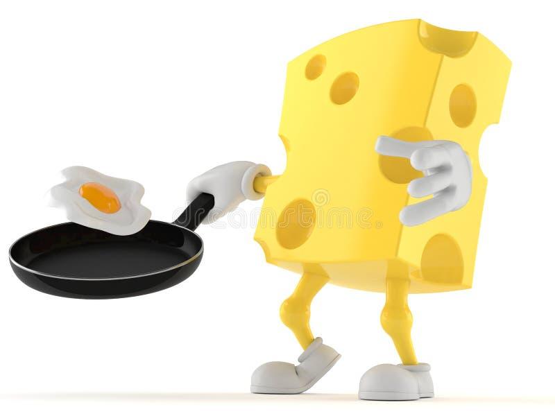 Carácter del queso que sostiene el sartén libre illustration