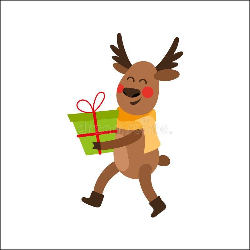 Carácter del reno de la Navidad de la historieta con el presente ilustración del vector
