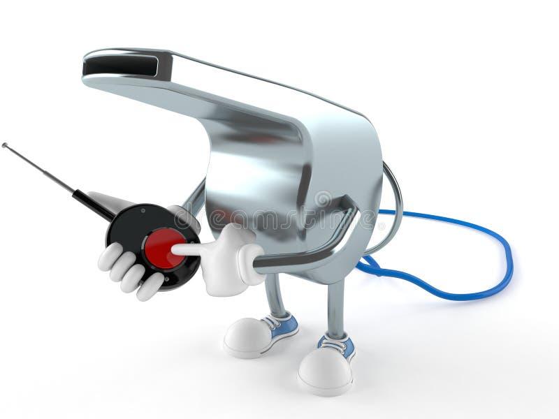 Carácter del silbido con el botón remoto ilustración del vector