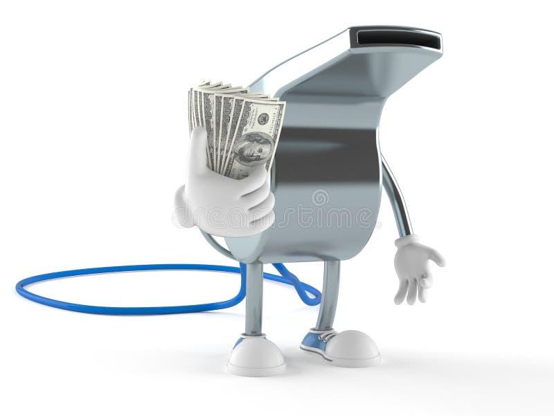 Carácter del silbido con el dinero ilustración del vector