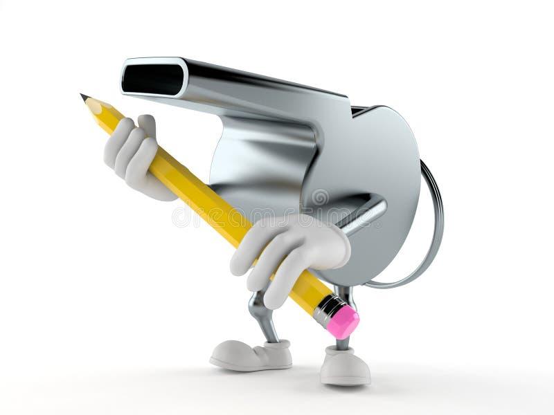 Carácter del silbido que sostiene el lápiz stock de ilustración