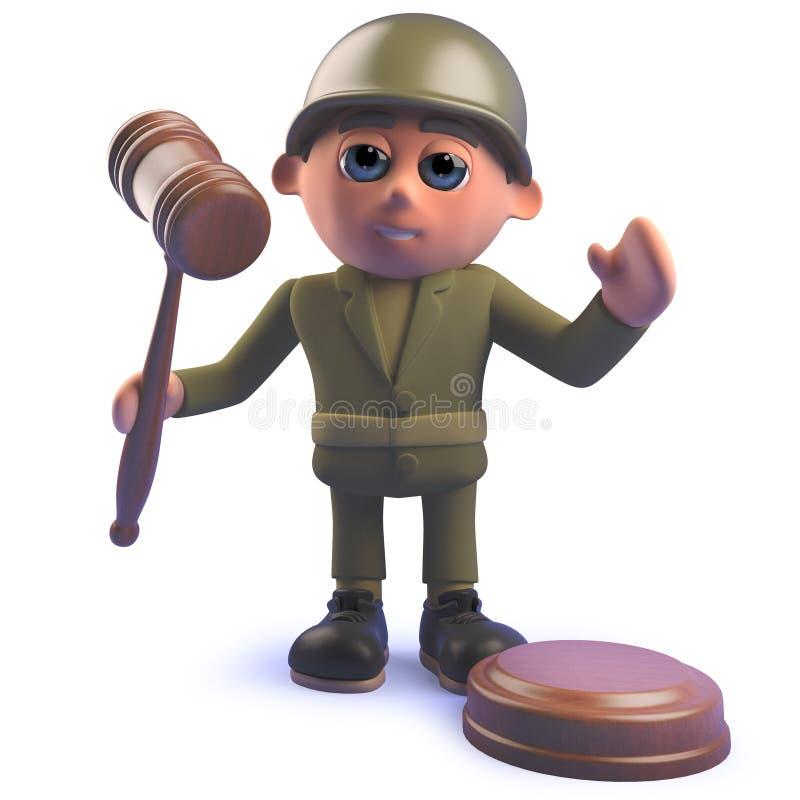 Carácter del soldado del ejército de la historieta que sostiene un mazo de la subasta en 3d ilustración del vector