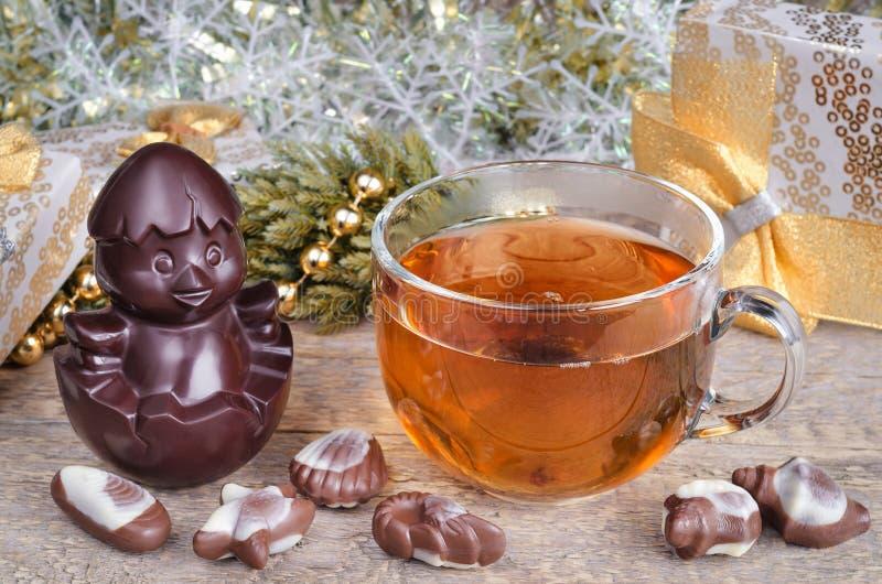 Carácter del té y del chocolate de la Navidad fotografía de archivo