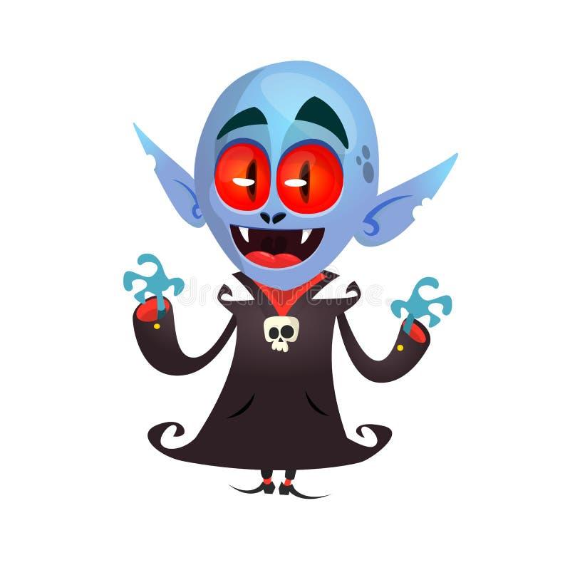 Carácter del vampiro de la historieta aislado en blanco Pequeña historieta linda de Drácula ilustración del vector