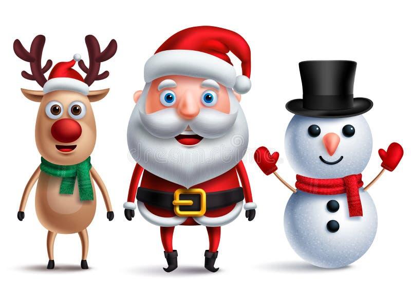 Carácter del vector de Papá Noel con el muñeco de nieve y Rudolph el reno ilustración del vector