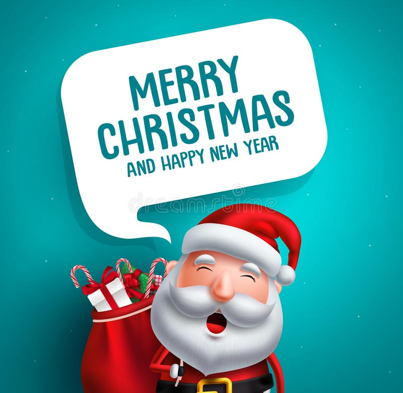 Carácter del vector de Papá Noel con el texto del saludo de la Feliz Navidad ilustración del vector