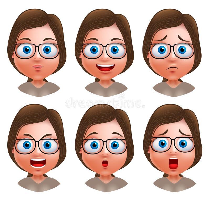 Carácter del vector del avatar de la mujer Sistema de cabezas de la muchacha del empollón del adolescente stock de ilustración