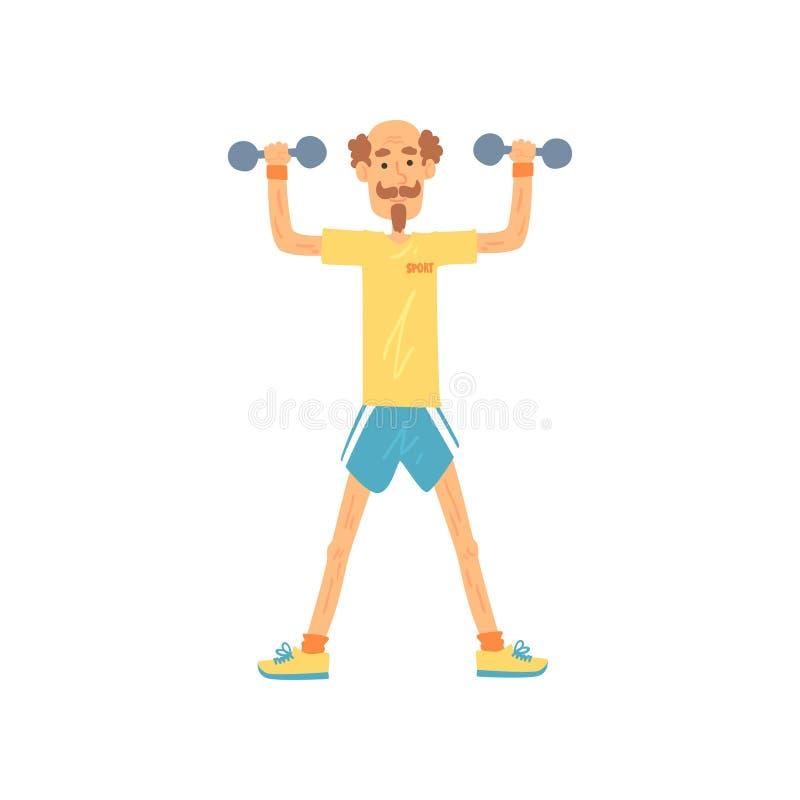 Carácter del viejo hombre que se mantiene aparte con cadera-distancia de los pies y que aumenta los brazos con pesas de gimnasia  ilustración del vector