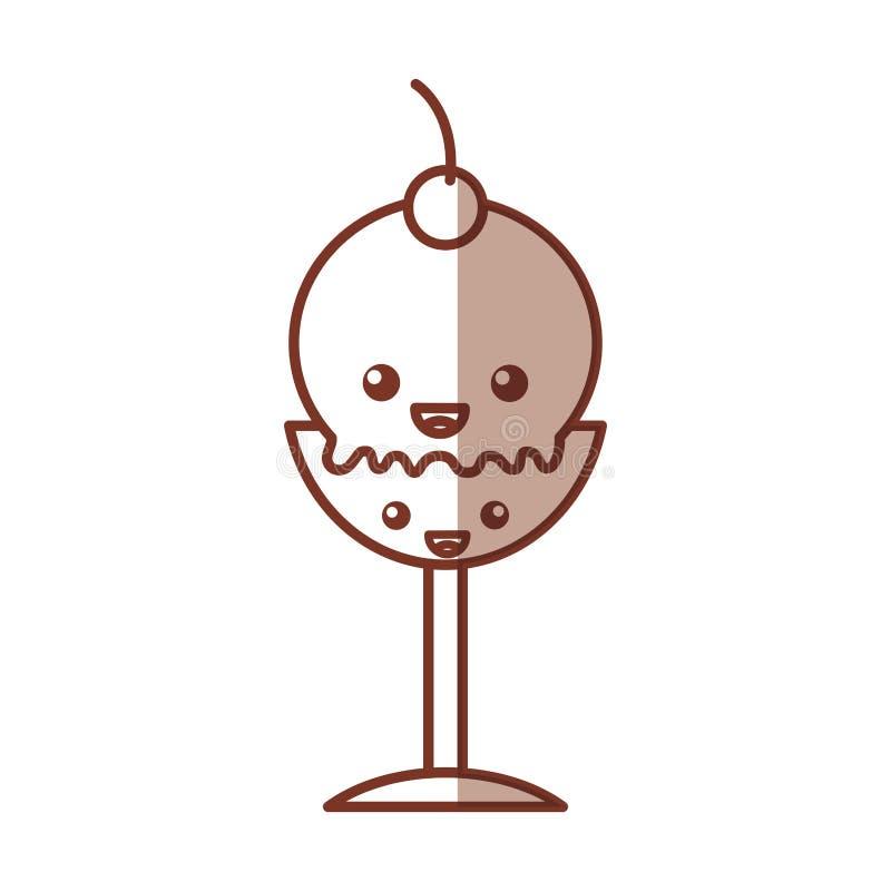 Carácter delicioso del kawaii de la taza del helado libre illustration