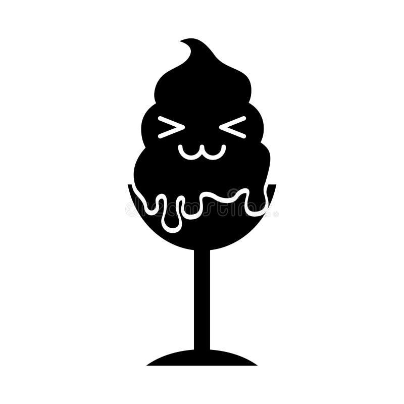 Carácter delicioso del kawaii de la taza del helado ilustración del vector