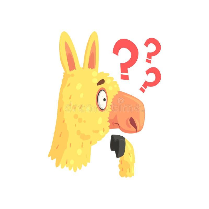 Carácter desconcertado divertido del lama, ejemplo animal del vector de la historieta de la alpaca linda ilustración del vector