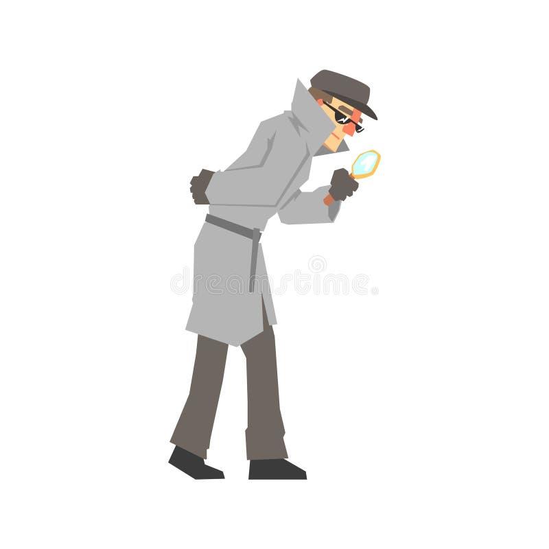 Carácter detective que mira a través de la lupa, detective confiado en la capa gris que busca el ejemplo del vector ilustración del vector