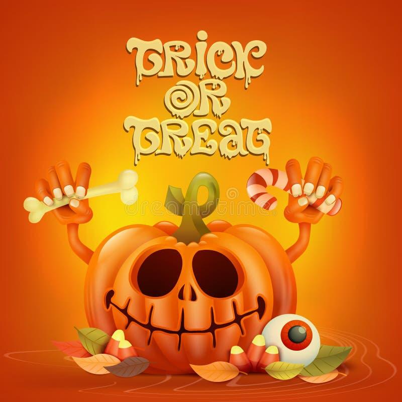Carácter divertido de la calabaza en fondo anaranjado libre illustration