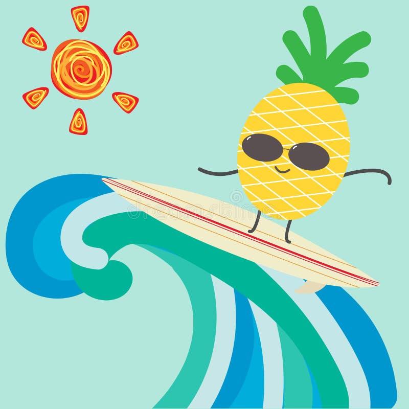 Carácter divertido de la piña de la historieta que practica surf para el fondo del verano fotos de archivo libres de regalías