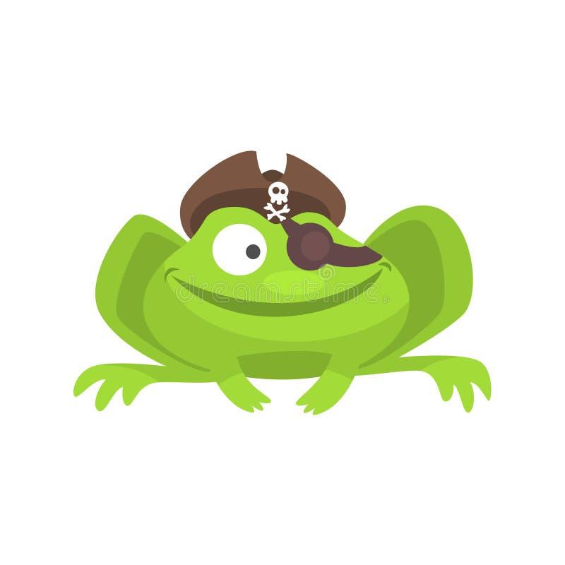 Carácter divertido de la rana verde con el ejemplo infantil sonriente del sombrero del pirata y de la historieta del remiendo del stock de ilustración