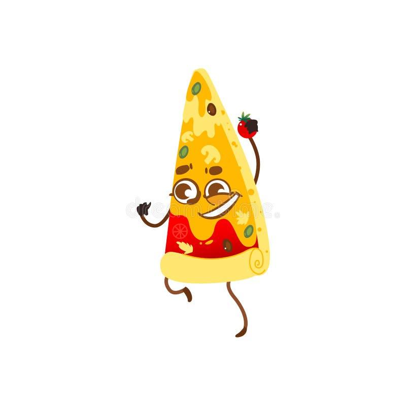 Carácter divertido de la rebanada de la pizza, rostro humano sonriente ilustración del vector