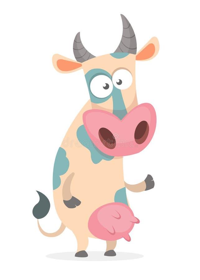 Carácter divertido de la vaca de la historieta que señala en algo aislado en el fondo blanco libre illustration