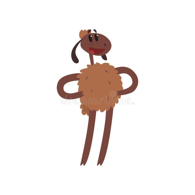 Carácter divertido de las ovejas que lleva a cabo las manos en su ejemplo del vector de la historieta de la cintura libre illustration