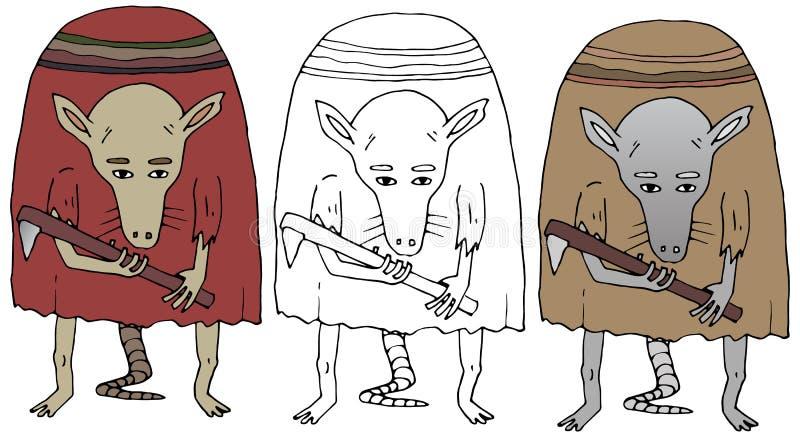 Carácter divertido del aislante divertido exhausto de la mano del color de la rata del monstruo del garabato de la historieta stock de ilustración