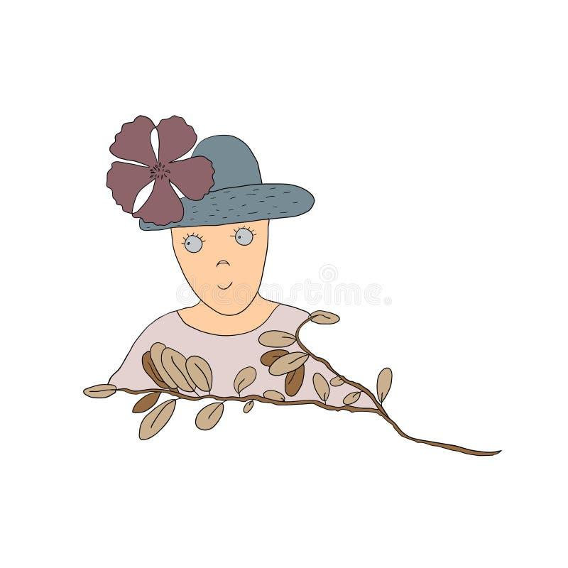 Carácter divertido del estilo de la historieta en sombrero con la flor ilustración del vector