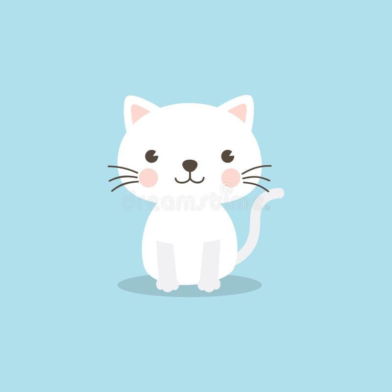 Carácter divertido del gato en fondo del azul de cielo stock de ilustración
