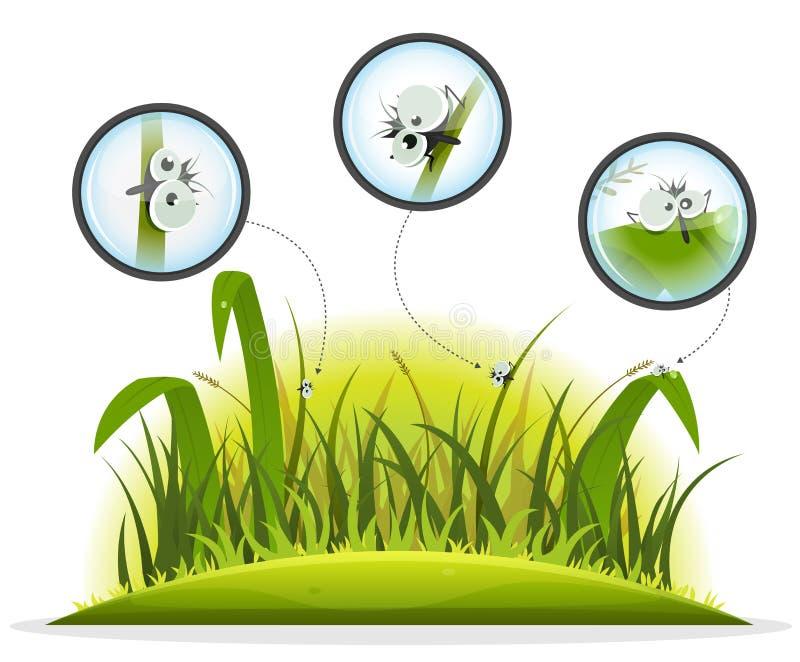 Carácter divertido del insecto dentro de la hierba de la primavera ilustración del vector