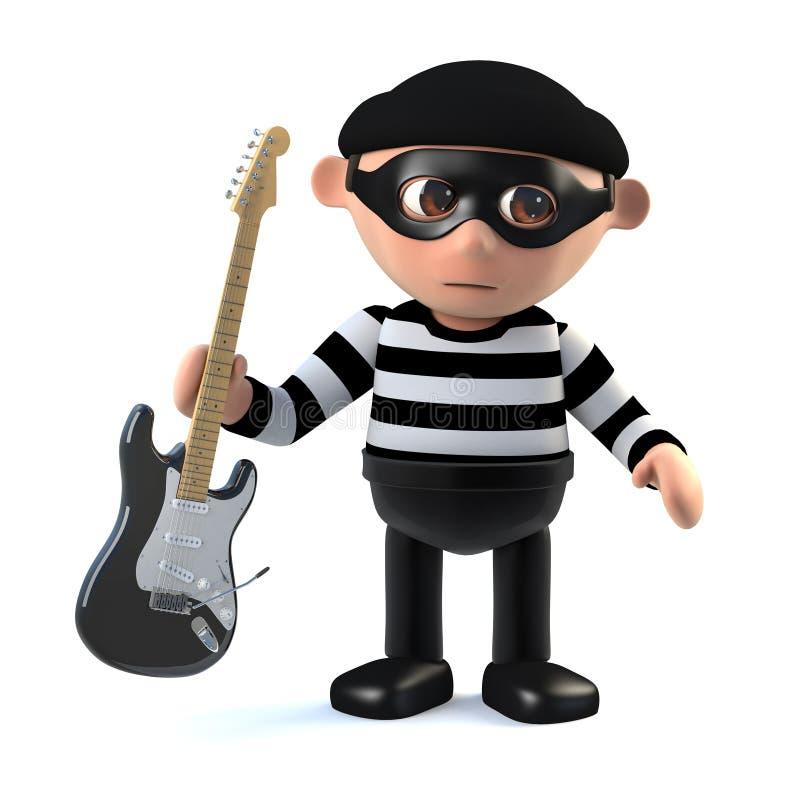 carácter divertido del ladrón del ladrón de la historieta 3d que roba una guitarra eléctrica libre illustration