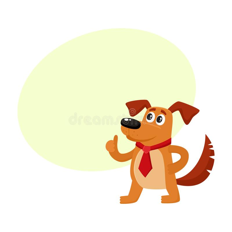 Carácter divertido del perro en el lazo rojo que muestra el pulgar para arriba stock de ilustración