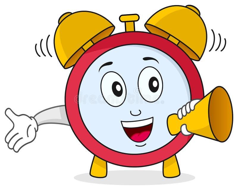 Carácter divertido del reloj de alarma stock de ilustración