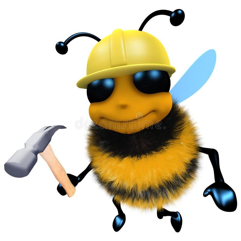 carácter divertido del trabajador de construcción de la abeja de la miel de la historieta 3d que sostiene un martillo stock de ilustración