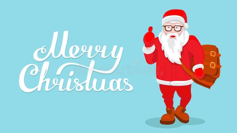 Carácter divertido fresco del estilo de Santa Claus del ejemplo moderno del vector venido con el bolso y el pulgar del regalo par ilustración del vector