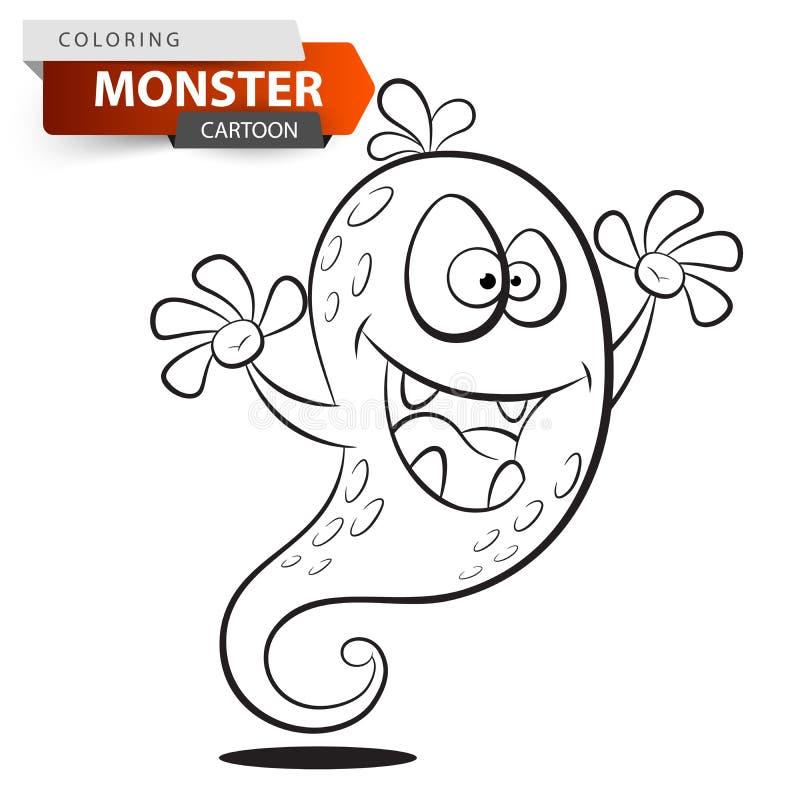 Carácter divertido, lindo, loco del monstruo de la historieta Ejemplo de colorante ilustración del vector