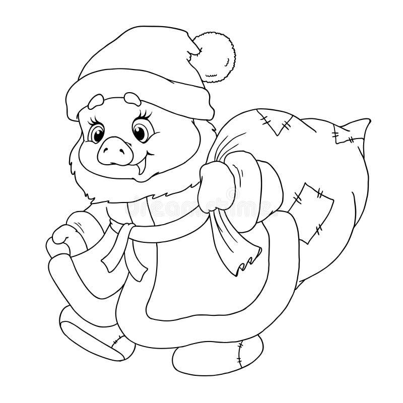 Carácter dulce del cerdo del ` s de Papá Noel Cochinillo con los regalos Horóscopo chino Feliz Año Nuevo zodiaco Libro de coloran libre illustration