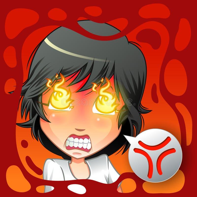 Carácter emocional enojado stock de ilustración